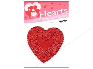 "Fox Run Craftsmen Paper Doily 4"" Heart 24 pc Red"