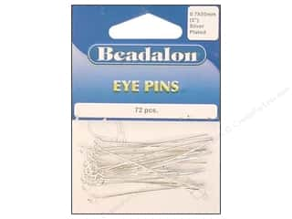 "round nose pliers: Beadalon Eye Pins 0.7x 50mm 2"" Silver Plated 72pc"