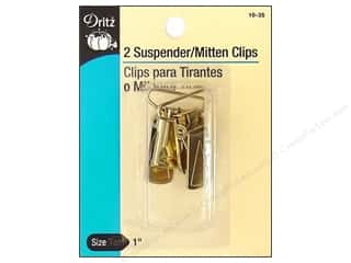 Printing Basic Sewing Notions: Suspender / Mitten Clips Gilt by Dritz 2pc