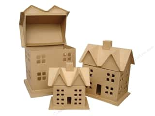 Paper Mache: Paper Mache Box House Set of 3 by Craft Pedlars (4 sets)