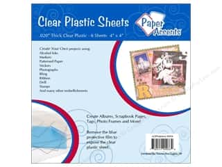 Paper Accents Clear: Plastic Sheet 4 x 4 in. by Paper Accents Clear .02 in. 6 pc.