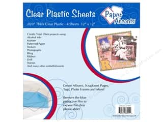 Plastic / Acetate Sheets: Paper Accents Plastic Sheet 12x12 Clear .020 4pc