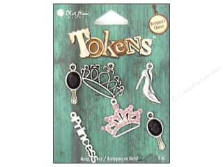 BMB Charm Tokens Metal Princess Silver 6pc