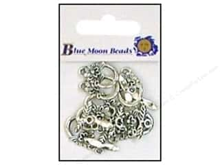Clearance Blumenthal Favorite Findings: Blue Moon Small Toggle Clasps with Flower 8 pc. Silver
