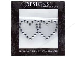 Mark Richards Iron-On Rhinestones Double Heart Clr