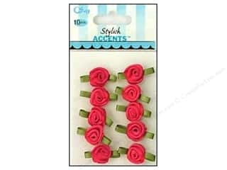 Offray Ribbon Accent Roses Small 10pc Hot Pink