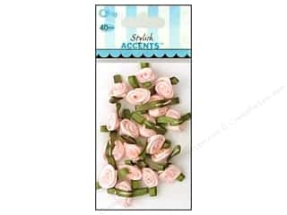Offray Ribbon Accent Roses Small VP Lt Pink 40pc