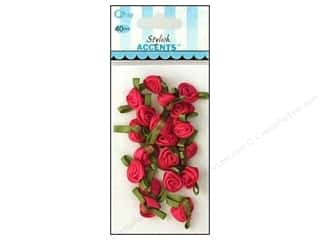 Ribbon Work: Offray Ribbon Accent Roses Small Value Pack Hot Pink 40pc