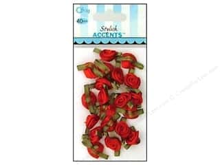 Offray Ribbon Accent Roses Small VP Red 40pc