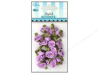 Offray Ribbon Accent Roses Small VP Lt Orchid 40pc