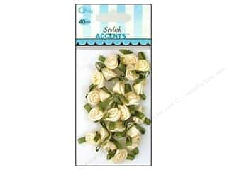 Ribbons Offray Ribbon Accent: Offray Ribbon Accent Roses Small Value Pack Cream 40pc