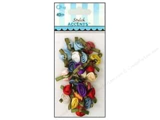 Sewing & Quilting Ribbons: Offray Ribbon Accent Roses Small Value Pack Multi 40pc