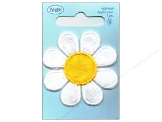 Wrights Applique Sew On White/Yellow Daisy