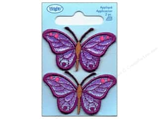 Wrights Appliques Iron On Purple Iridescent Butterfly