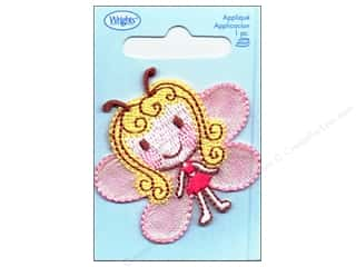 Wrights Appliques Iron On Pink Butterfly Girl