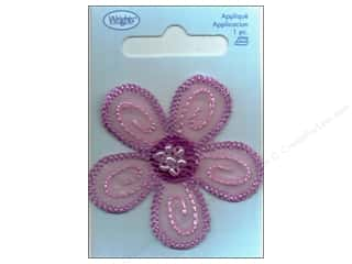 Wrights Appliques Iron On Lavender Daisy with Bead