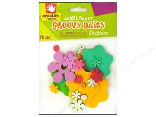 26-gauge floral wire: Fibre-Craft Foam Stickers Groovy Daisy 70pc