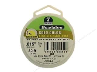 "7"" wire: Beadalon Bead Wire 7 Strand .015 in. Gold 30 ft."