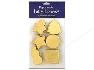 Clearance: Paper Mache Box Bitty Assorted Christmas Gold 6pc