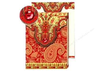 Punch Studio Pocket Note Pad Paisley Red/Gold