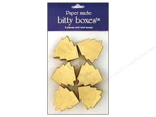 Paper Mache Box Bitty Tree Gold 6pc by Craft Pedlars