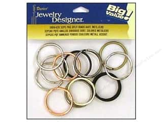 "Spring Beading & Jewelry Making Supplies: Darice Jewelry Designer Split Ring 1.25"" Assorted Metallic 32pc"
