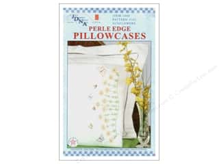 Floss Spring: Jack Dempsey Pillowcase Perle Edge White Sunflowers