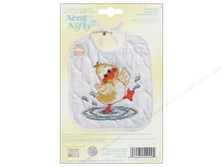 Stitchery, Embroidery, Cross Stitch & Needlepoint Crafting Kits: Janlynn Cross Stitch Kit Just Ducky Bib