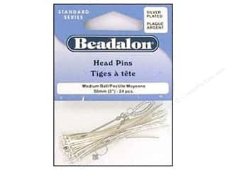 "Beadalon Head Pins 2"" Small Ball 1.2mm Silvr 24pc"