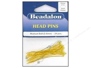 "Beadalon Head Pins 2"" Medium Ball 2mm Gold 24pc"