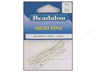 "Beadalon Head Pins 2"" Medium Ball 2mm Silver 24pc"