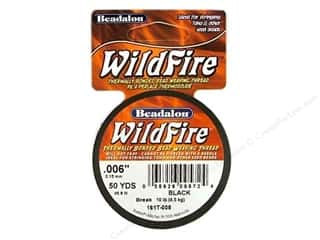 Beadalon Needles: Beadalon Wildfire Bead Thread .15mm Black 50yd