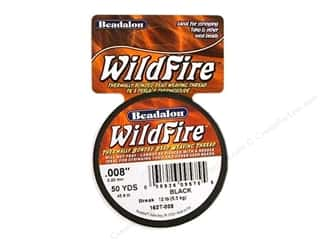 Beadalon Needles: Beadalon Wildfire Bead Thread .20mm Black 50yd