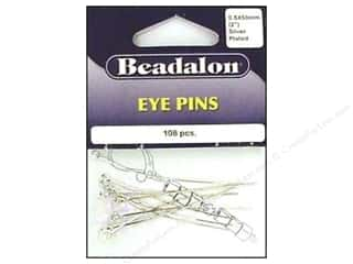 wire looping pliers: Beadalon Eye Pins 0.5mm x 2 in. Silver Plated 108 pc.