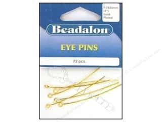 "beadalon earring: Beadalon Eye Pins 0.7 x 50mm 2"" Gold Plate 72pc"