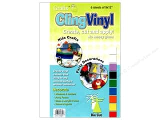 "Sheet Vinyl Craft & Hobbies: Grafix Cling Vinyl Sheet 9""x 12"" Clear 6pc"