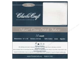 Labels Yarn & Needlework: Charles Craft Silver Standard 14-count Aida Cloth 12 x 18 in. White