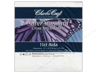 Labels Yarn & Needlework: Charles Craft Silver Standard 11-count Aida Cloth 12 x 18 in. White