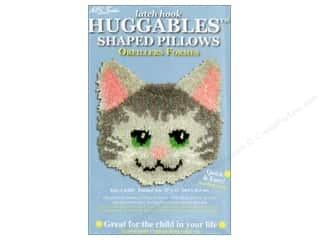 "Pillow Shams Think Pink: M.C.G Textiles Latch Hook Kit Huggables Pillow 12""x 12"" Kitty"