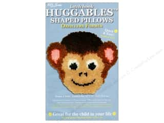 "Canvas Graph n' Latch Rug Canvas 3.75 mesh: M.C.G Textiles Latch Hook Kit Huggables Pillow 12""x 11"" Monkey"