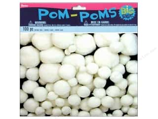 Darice Pom Poms White Assorted Sizes 100pc