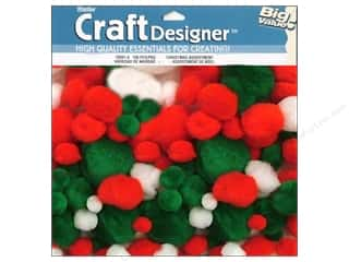 Darice Pom Poms Christmas White/Grn/Red Astd 100pc