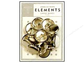 American Crafts Elements Brads Large Silver 16pc