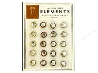 American Crafts Elements Brads Medium Jewel Metallic 20pc