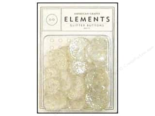American Crafts Buttons Elements Glitter White
