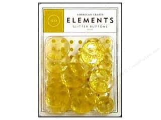 American Crafts Buttons Elements Glitter Gold