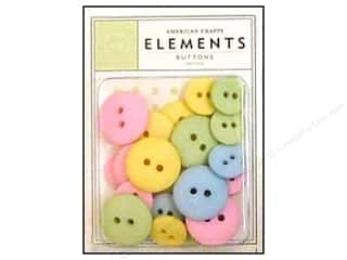 Sew-on Buttons: American Crafts Elements Buttons 24 pc. Pastel