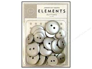 American Crafts Buttons Elements Silver