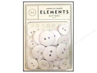 American Crafts Buttons Elements White