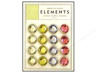 American Crafts Elements Brads Large Jewel Pastel 16pc